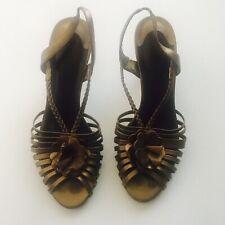 Bella Vita Bronze Leather Strappy Sandals Heels Size 10