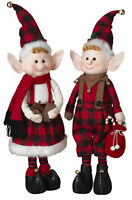 2-Pc Holiday Buffalo Plaid Check Large Standing Elf Elves Figurines Set Decor