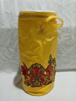 """Vintage 70s? Flowered Plastic Vinyl Round Tube Shaped Yellow Cooler. 17""""× 7.5"""""""