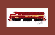 """Louisville & Indiana GP38 #2004 11""""x17"""" Matted Print Andy Fletcher signed"""