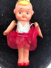"""Vintage Celluloid Kewpie Carnival Doll 3"""" String Joint Red Skirt Hair Bow Shoes"""