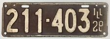 Vintage Single 1928 Illinois 6 number 211-403 License Plate