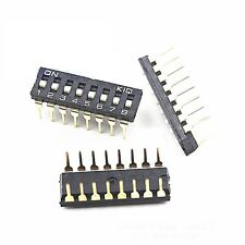 10PCS Black 2.54mm Pitch 8-Bit 8 Positions Ways Slide Type DIP Switch