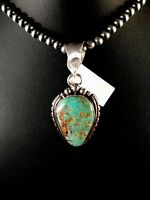 TURQUOISE #8 Navajo Pearls Sterling Silver Necklace Pendant Signed 8678