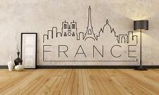 Wall Vinyl Sticker Decal Skyline Horizon Panorama City France Travel World F1829