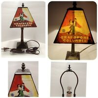 """Vtg Grafofoni Columbia Painted Phonograph Shade Table Lamp 13"""" Heavy Brass Base"""