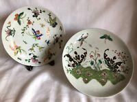 "Antique Chinese Porcelain Famille Rose Butterflies Floral Decorative 9"" Plate"