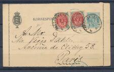 1889 Danemark Entier CL 4 ore Bleu + paire 8 ore pr Paris P4508