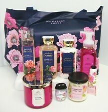 Bath & Body Works Mothers Day Tote 9 pc Perfect Peony Cactus Blossom Poundcake