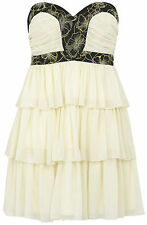 Lipsy UK 14 Tiered Floral Embellished Chiffon Party/Prom Dress 'Vintage Cream'