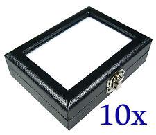 10 PCS OF TOP GLASS GEM DIAMOND JEWELRY COIN  BOX CASE STORAGE  8x10cm BIG LOCK
