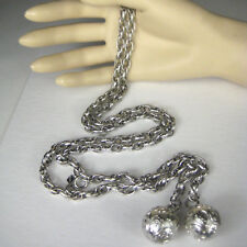 Sarah Coventry Necklace Silvertone 40 Inch Chain Ball Pendants Signed Hang tag