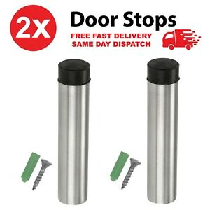 2 x PROJECTION DOOR STOPS Brushed Stainless Steel Bumper Stop Buffer Stopper