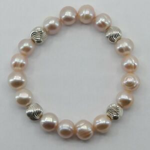 ARTISAN Pearl Stretch Bracelet with Sterling Silver Beads #11