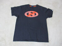 VINTAGE Nautica Jeans Shirt Size Adult Large Blue Orange Spell Out Mens 90s