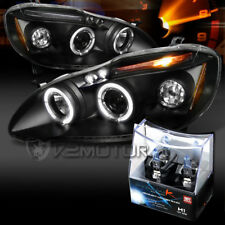 For 03-08 Toyota Corolla Black LED Halo Projector Headlights+H1 Halogen Bulbs