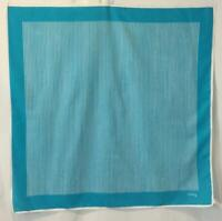 VINTAGE ECHO 26 inch Square 100% Cotton Scarf Teal Blue White Stripes Italy