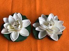 SET OF 2 ARTIFICIAL PLASTIC LOTUS FLOATING FLOWER  PLASTIC PLANT POND DECORATION