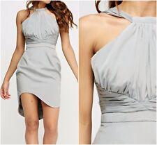 V Label London Grey Ruched Asymmetric Hem Occasion Party Dress
