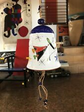 Joan Miro Styled Clay Ceramic Art Bell Wind Chime Vintage Mcm Mid Century Style