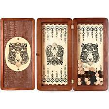 Tiger Luxury Wooden Backgammon Set Leather Pieces Tournament Board Game New