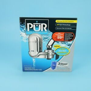 PUR Faucet 3 Stage Water Filtration System Chrome. FM-3700B NEW