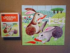 1968 BUNNY RABBITS Jigsaw Puzzle whitman,carrot,farm field
