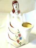"""Vintage Pottery Lady Woman Planter Southern Belle Hand Painted 7 1/4"""" High"""