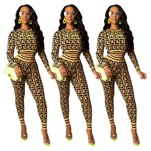 Sexy Women 2 Piece Outfits Long Sleeve Crop Top Pants Set Casual Jumpsuit S-XL