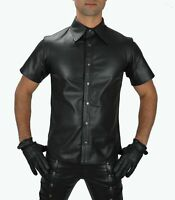 MEN'S REAL BLACK LEATHER POLICE MILITARY STYLE SHIRT GAY HALF SLEEVES