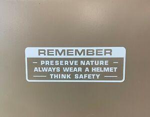 Honda Preserve Nature Warning  White  XR XL MR CR MT CB SL Z50 Z50R H168