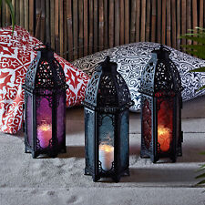 Trio of Black Metal Moroccan Battery Operated Indoor Flameless Candle Lanterns