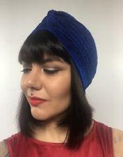 Bonnet turban stretch bleu roi à paillettes pinup burlesque rétro sexy original