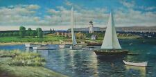 """Oil Painting Seascape Sailboat Sailing Boa on Canvas Hand Painted Size 48""""x24"""""""