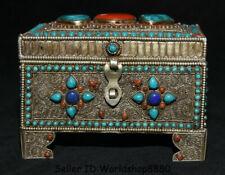 "6"" Tibet Tibetan Silver Filigree Inlay Turquoise Gem Jewelry box Storage Box"