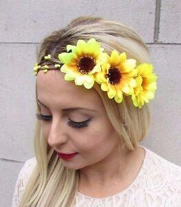 Large Yellow Sunflower Flower Garland Headband Hair Crown Headpiece Rustic 3601