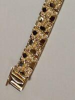 "14 kt Solid Yellow Gold Mens Nugget Bracelet 10 MM 45 grams  10"""