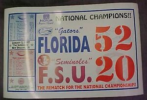 1996 SPURRIERS FLORIDA GATORS NCAA NATIONAL CHAMPIONSHIP GAME POSTER OFF LIC