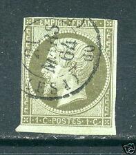 France SC 12 Napoleon - Used, 1c Olive Green, Pale Blue Paper, 1864 Cancel