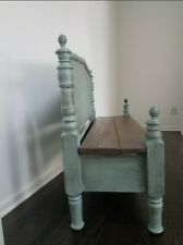 Solid Wood Bench Distressed Blue Brown Entry Foyer Kitchen Hall Rustic Mudroom