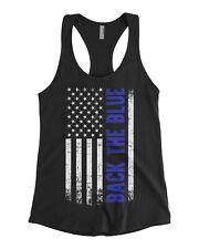 Back the Blue American Flag Women's Racerback Tank Top Blue Line Police