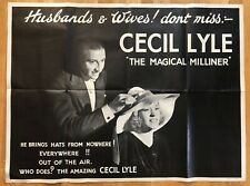 More details for 1950s original magic poster cecil lyle - magical milliner illusionist conjuring
