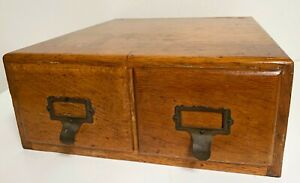 Antique Old Vintage IMPERIAL Oak Library 2 drawer Wood Card Catalog Cabinet