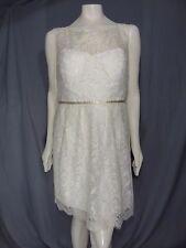 Jenny Yoo Collection Ivory Gold Sleeveless Lace Sheath Dress Size 12