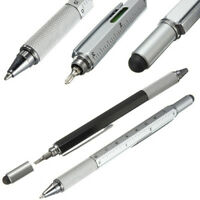 6 in 1 Multi Function Touch Screen Stylus Ballpoint Tool Pen Ruler Level Screw