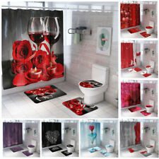 4pcs/Set Rose Heart Bathroom Waterproof Shower Curtain Toilet Lid Cover Bath Mat