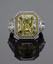 5.00ct Fancy Yellow Asscher Cut Wedding & Engagement Ring In 14K White Gold Over