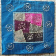 "Indian patchwork block print cushion cover16"" sq deep turquoise multi"