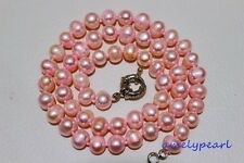 """fresh water pearl necklace pink 17.5INCH Alloy Strand/String """"Handmade""""Beauty"""