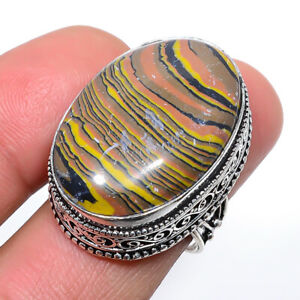 Rainbow Calsilica Vintage Gemstone 925 Sterling Silver Jewelry Ring s.7 M1524